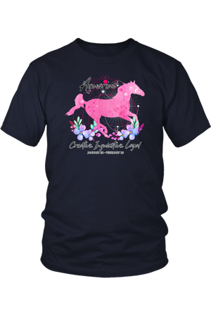 Aquarius Zodiac Horse Unisex Shirt-T-shirt-teelaunch-District Unisex Shirt-Navy-S-Three Wild Horses