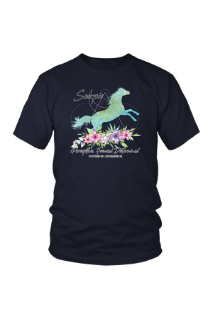 Scorpio Horse Unisex Short-T-shirt-teelaunch-District Unisex Shirt-Navy-S-Three Wild Horses