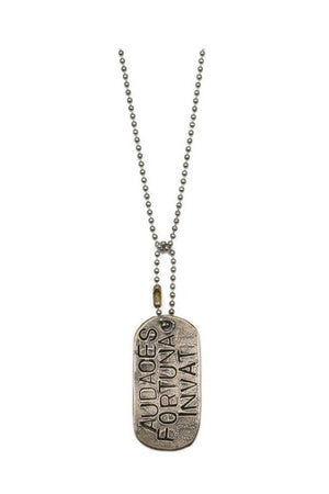 White Smoke Fortune Favors The Bold Dog Tag Necklace by SHANNON KOSZYK
