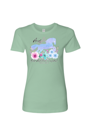 Aries Horse Shirt for Women-T-shirt-teelaunch-Next Level Womens Shirt-Mint-S-Three Wild Horses