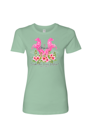 Gemini Horse Shirt for Women-T-shirt-teelaunch-Next Level Womens Shirt-Mint-S-Three Wild Horses