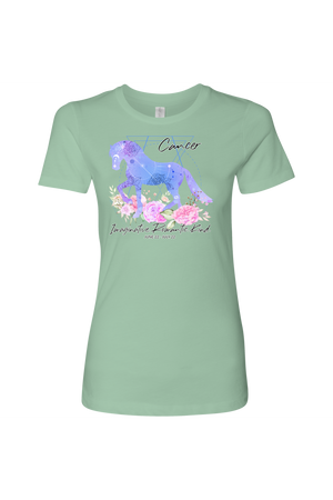 Cancer Horse Shirt for Women-T-shirt-teelaunch-Next Level Womens Shirt-Mint-S-Three Wild Horses