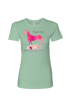 Capricorn Horse Shirt for Women-T-shirt-teelaunch-Next Level Womens Shirt-Mint-S-Three Wild Horses
