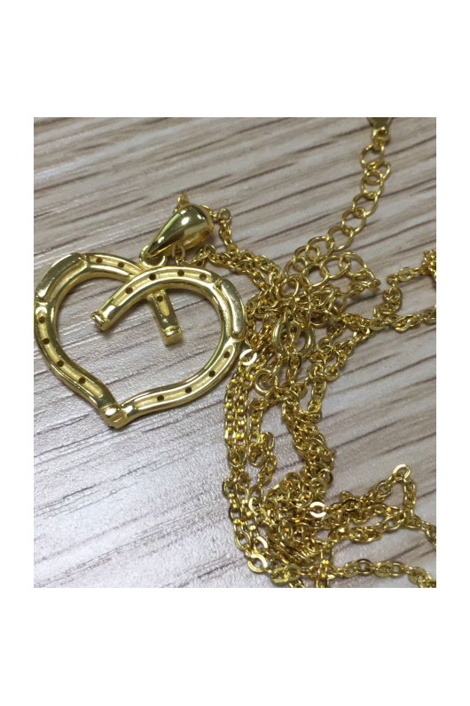 Heart Shaped Horseshoe Necklace Gold-Jewelry-Three Wild Horses-.925 Sterling Silver-Three Wild Horses