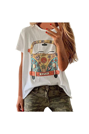 Saddle Brown Bus Print Casual Round Neck Fashion T-Shirt
