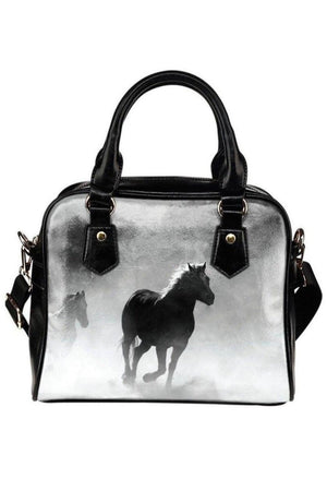 Black Clouded Horse Shoulder Handbag