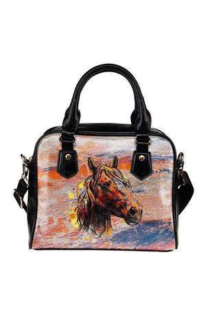 Rosy Brown Horse Art Shoulder Handbag