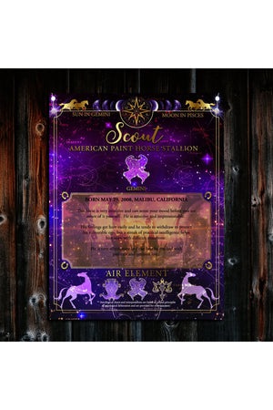 Astrological Chart For Your Horse-Wall Art-Three Wild Horses-Horse Astrology Chart $29.95-Three Wild Horses