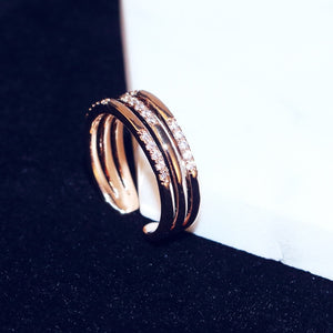 White Smoke C-Shaped Double Row Cubic Zirconia Rose Gold Tone Resizable Cocktail Ring