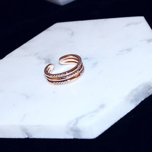 Lavender C-Shaped Double Row Cubic Zirconia Rose Gold Tone Resizable Cocktail Ring