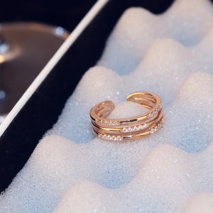 Rosy Brown C-Shaped Double Row Cubic Zirconia Rose Gold Tone Resizable Cocktail Ring