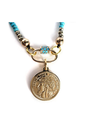 Rosy Brown Blue Turquoises Carabiner Long Necklace with Republique Francaise 14K Gold Filled Coin