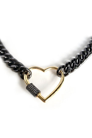 Beige Black Rhodium Curb Chain Choker Gold Plated Heart CZ Pave Screw Clasp Necklace