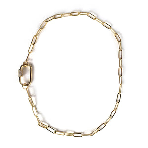 Beige Gold Plated Curb Chain Choker CZ Pave Oval Screw Clasp Necklace