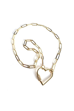 Antique White Gold Plated Stylish Curb Chain Choker Necklace with Heart Screw Clasp CZ Pave