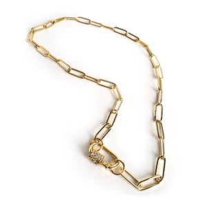 Rosy Brown Gold Toned Club Open Chain Necklace with Pave Carabiner Screw Clasp