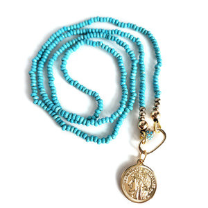 Steel Blue Blue Turquoises Carabiner Long Necklace with Republique Francaise 14K Gold Filled Coin