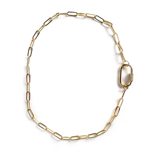Rosy Brown Gold Plated Curb Chain Choker CZ Pave Oval Screw Clasp Necklace