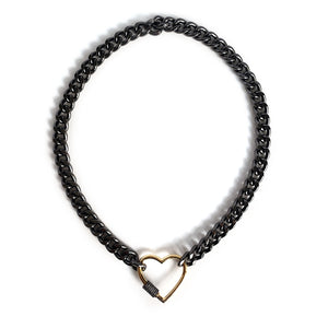 Black Black Rhodium Curb Chain Choker Gold Plated Heart CZ Pave Screw Clasp Necklace