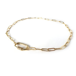Tan Gold Plated Curb Chain Choker CZ Pave Oval Screw Clasp Necklace