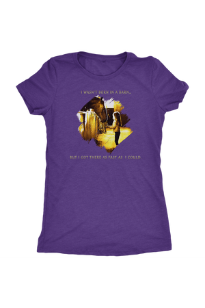 I Was Not Born In The Barn Tops-T-shirt-teelaunch-Womens Triblend-Purple Rush-S-Three Wild Horses