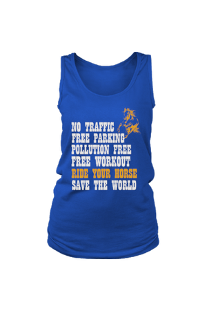 Ride Your Horse, Save the World - Tank Tops-Tops-teelaunch-Royal Blue-S-Three Wild Horses
