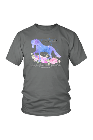 Cancer Horse Unisex Shirt-T-shirt-teelaunch-District Unisex Shirt-Grey-S-Three Wild Horses