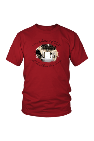 Born In A Barn - Tops-T-shirt-teelaunch-Unisex Tee-Red-S-Three Wild Horses