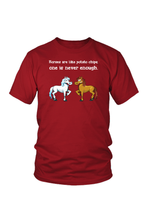 Horses Are Like Potato Chips - Tops-Tops-teelaunch-Unisex Tee-Red-S-Three Wild Horses