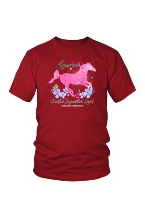 Aquarius Zodiac Horse Unisex Shirt-T-shirt-teelaunch-District Unisex Shirt-Red-S-Three Wild Horses
