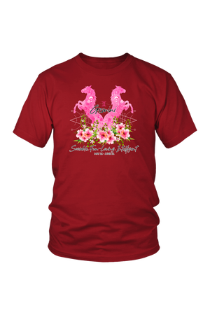 Gemini Horse Unisex Shirt-T-shirt-teelaunch-District Unisex Shirt-Red-S-Three Wild Horses