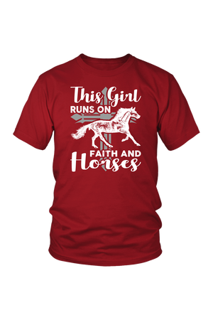 Brown This Girl Runs on Faith & Horses T-Shirt
