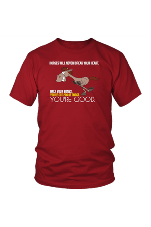 Horses Will Never Break Your Heart - Tops-Tops-teelaunch-Unisex Tee-Red-S-Three Wild Horses