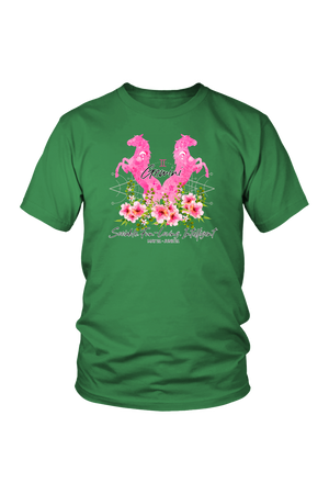 Gemini Horse Unisex Shirt-T-shirt-teelaunch-District Unisex Shirt-Kelly Green-S-Three Wild Horses