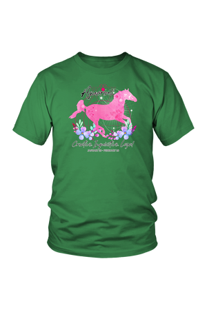 Aquarius Zodiac Horse Unisex Shirt-T-shirt-teelaunch-District Unisex Shirt-Kelly Green-S-Three Wild Horses