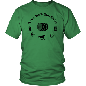 Sea Green Runs With Hay Bales- T-Shirt
