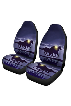 Dark Slate Gray Horses In Moonlight - Set of 2 Car Seat Covers