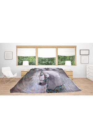 Horse Print Bedding Set-Beddings-Pillow Profits-Black-King-Three Wild Horses