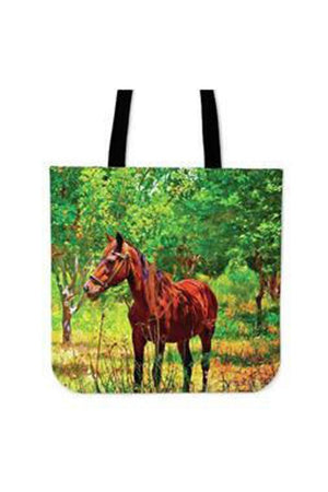 Dark Olive Green Meadow Horse - Tote Bag