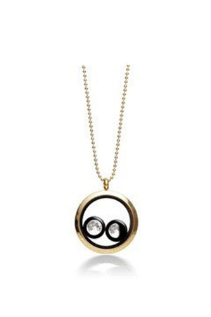 White Smoke Gold Plated Two Moon Phases Necklace