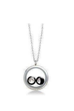 White Smoke Two Moon Custom Necklace Stainless Steel