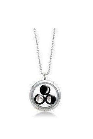 White Smoke Three Moon Family Necklace Stainless Steel
