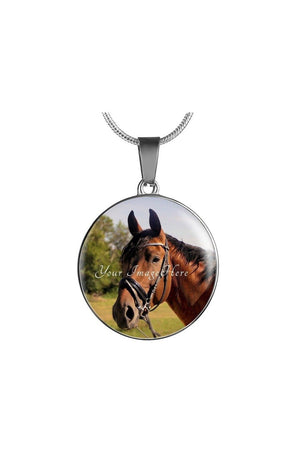 Round Photo Necklace-Jewelry-ShineOn Fulfillment-Luxury Necklace (Silver)-No-Three Wild Horses