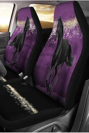 Dark Slate Gray Horse Purple Night Car Seat Covers