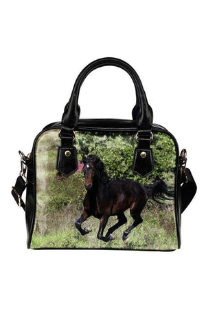 Black Running Horse Shoulder Handbag
