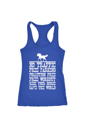 Ride Your Horse, Save the World - Tops-Tops-teelaunch-Racerback Tank-Royal Blue-S-Three Wild Horses