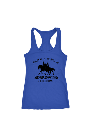 Dark Slate Blue Riding A Horse - Borrowing Freedom T-Shirt