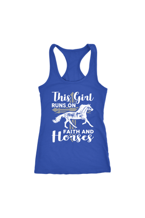 Dark Slate Blue This Girl Runs on Faith & Horses T-Shirt