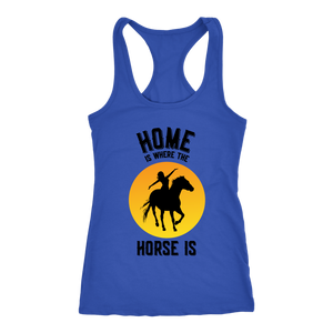 Dark Slate Blue Home is Where The Horse Is - T-Shirt