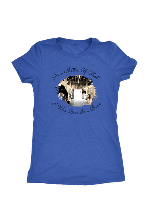 Born In A Barn - Tops-T-shirt-teelaunch-Ladies Triblend-Vintage Royal-S-Three Wild Horses
